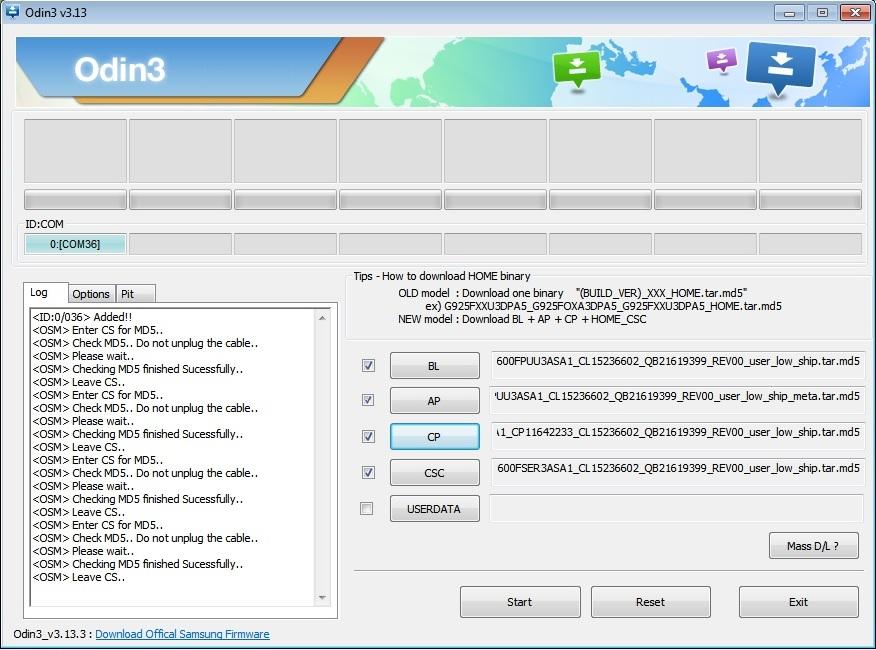Расстановка файлов прошивки в один samsung j600